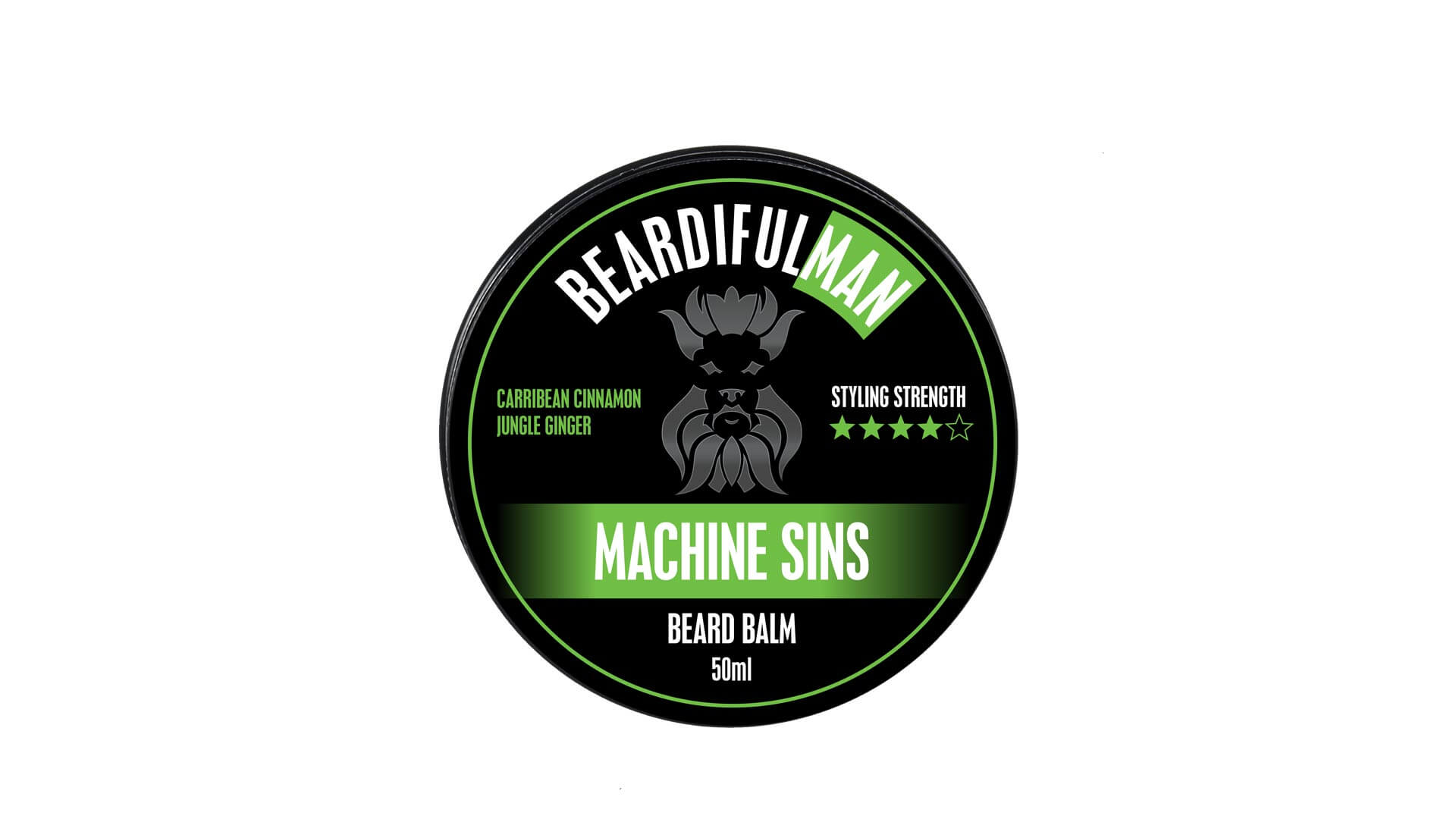 Single 50ml tin of Machine Sins premium quality beard balm from Beardifulman