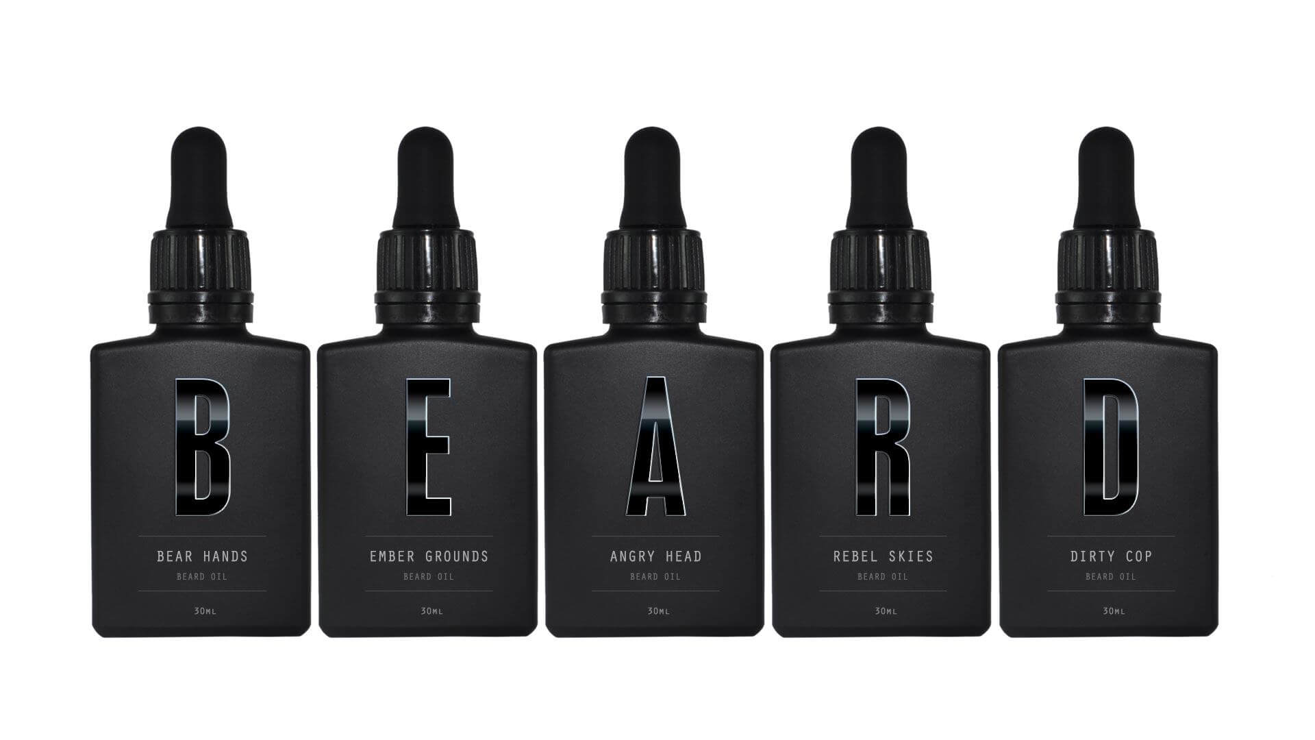 All five Beardifulman standard beard oils in a line spelling out BEARD